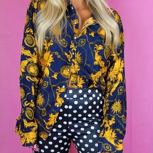 Tops - Navy blue and gold vintage button down